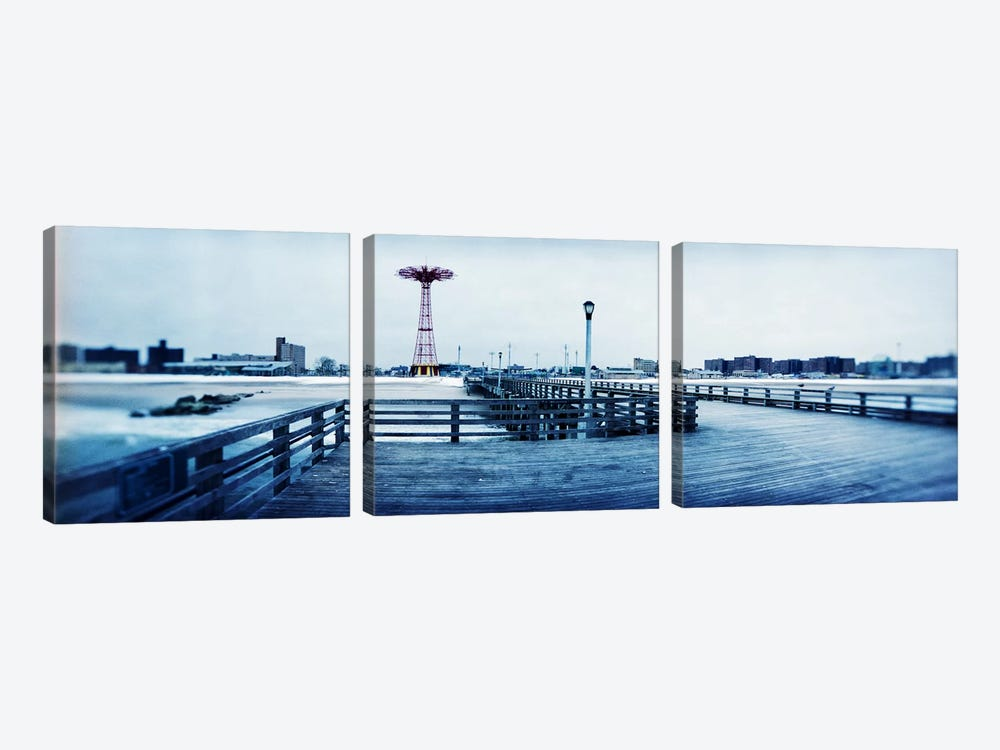 City in winter, Coney Island, Brooklyn, New York City, New York State, USA by Panoramic Images 3-piece Canvas Artwork