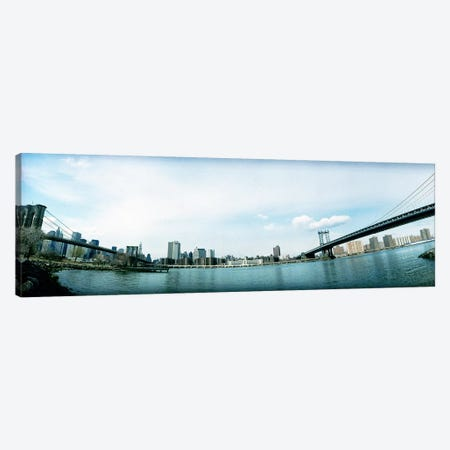 Two bridges across a river, Brooklyn bridge, Manhattan Bridge, East River, Brooklyn, New York City, New York State, USA Canvas Print #PIM7674} by Panoramic Images Canvas Art Print