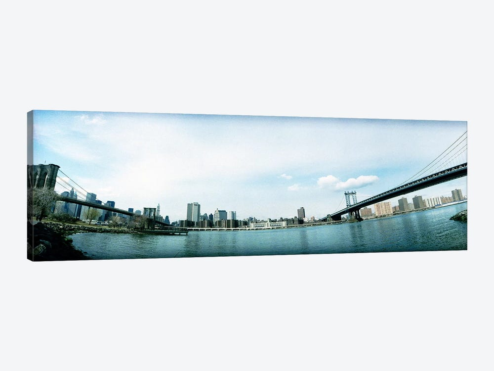 Two bridges across a river, Brooklyn bridge, Manhattan Bridge, East River, Brooklyn, New York City, New York State, USA by Panoramic Images 1-piece Canvas Art Print
