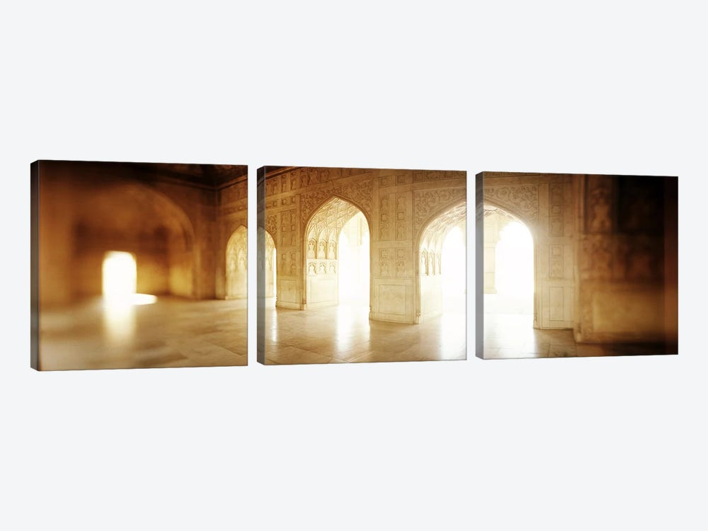 Interiors of a hall, Agra Fort, Agra, Uttar Pradesh, India by Panoramic Images 3-piece Canvas Art