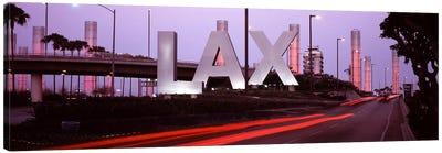 Airport at dusk, Los Angeles International Airport, Los Angeles, Los Angeles County, California, USA Canvas Print #PIM7679