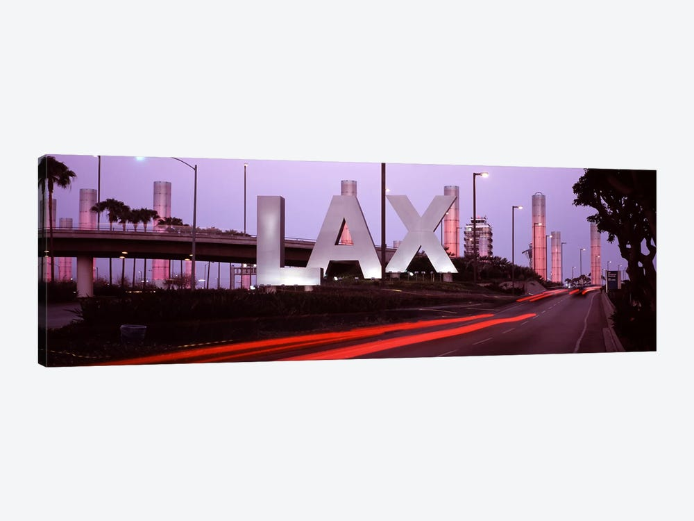 Airport at dusk, Los Angeles International Airport, Los Angeles, Los Angeles County, California, USA by Panoramic Images 1-piece Canvas Wall Art