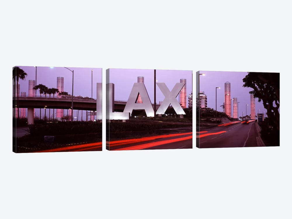 Airport at dusk, Los Angeles International Airport, Los Angeles, Los Angeles County, California, USA by Panoramic Images 3-piece Canvas Wall Art