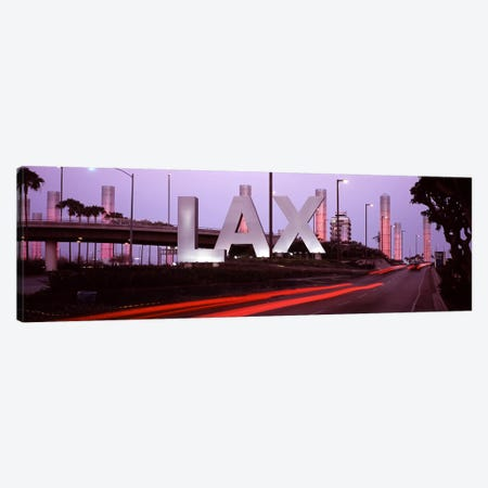 Airport at dusk, Los Angeles International Airport, Los Angeles, Los Angeles County, California, USA 3-Piece Canvas #PIM7679} by Panoramic Images Canvas Artwork