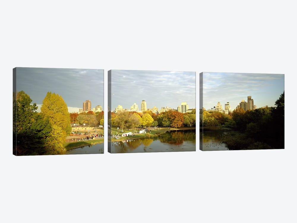 Park with buildings in the background, Central Park, Manhattan, New York City, New York State, USA by Panoramic Images 3-piece Canvas Art Print