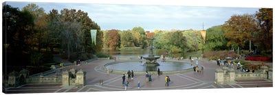 Tourists in a park, Bethesda Fountain, Central Park, Manhattan, New York City, New York State, USA Canvas Art Print