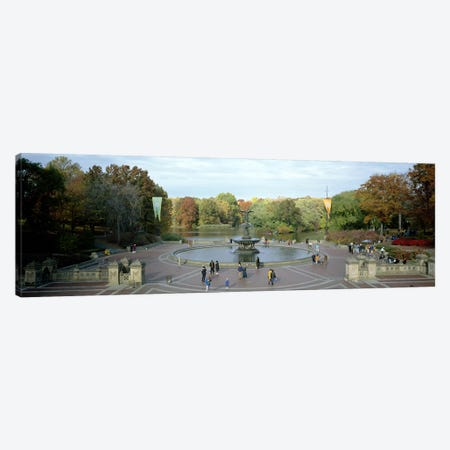 Tourists in a park, Bethesda Fountain, Central Park, Manhattan, New York City, New York State, USA Canvas Print #PIM7699} by Panoramic Images Canvas Art