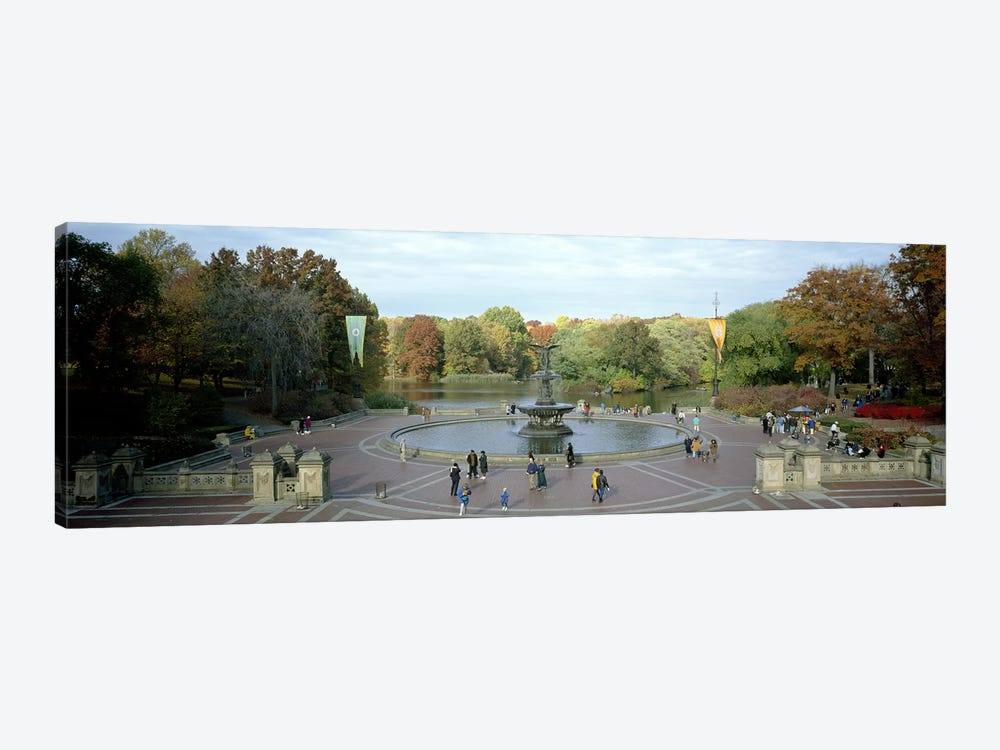 Tourists in a park, Bethesda Fountain, Central Park, Manhattan, New York City, New York State, USA by Panoramic Images 1-piece Canvas Artwork