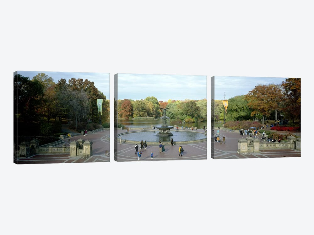 Tourists in a park, Bethesda Fountain, Central Park, Manhattan, New York City, New York State, USA by Panoramic Images 3-piece Canvas Artwork