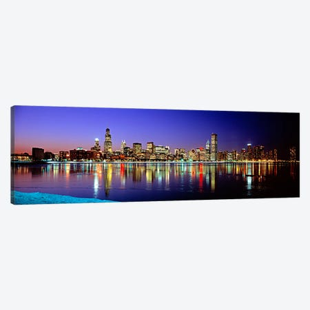 Illuminated Skyline & It's Reflection In Lake Michigan, Chicago, Cook County, Illinois, USA Canvas Print #PIM76} by Panoramic Images Canvas Wall Art