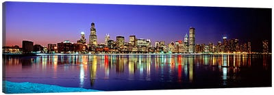 Illuminated Skyline & It's Reflection In Lake Michigan, Chicago, Cook County, Illinois, USA Canvas Print #PIM76