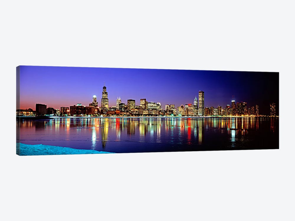 Illuminated Skyline & It's Reflection In Lake Michigan, Chicago, Cook County, Illinois, USA by Panoramic Images 1-piece Art Print