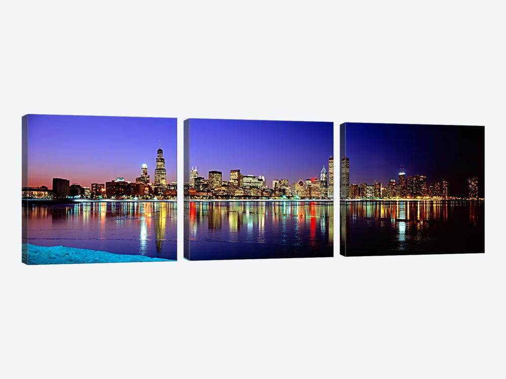 Illuminated Skyline & It's Reflection In Lake Michigan, Chicago, Cook County, Illinois, USA 3-piece Canvas Art Print