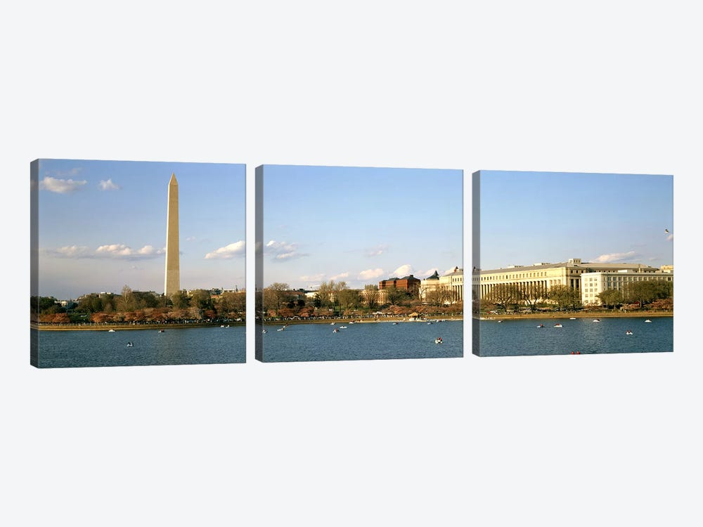 Monument at the riverside, Washington Monument, Potomac River, Washington DC, USA by Panoramic Images 3-piece Canvas Print