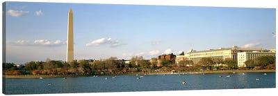 Monument at the riverside, Washington Monument, Potomac River, Washington DC, USA Canvas Art Print