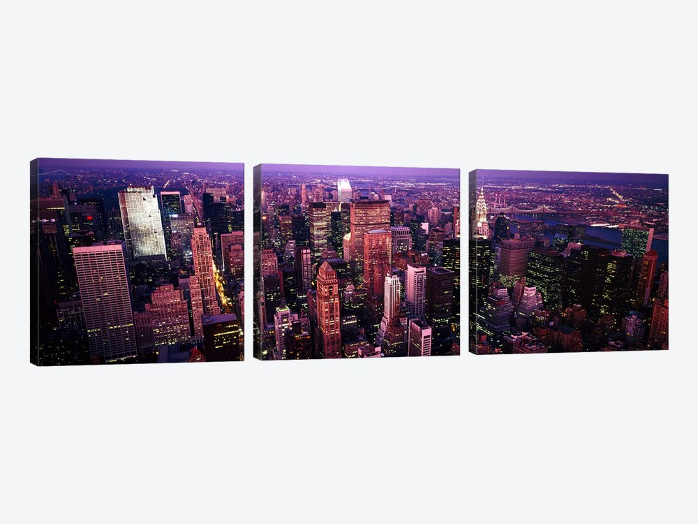 Aerial view of a cityManhattan, New York City, New York State, USA by Panoramic Images 3-piece Canvas Art Print
