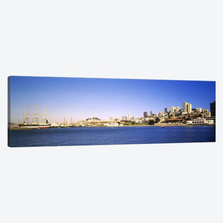Sea with a city in the background, Coit Tower, Ghirardelli Square, San Francisco, California, USA Canvas Print #PIM7718} by Panoramic Images Art Print