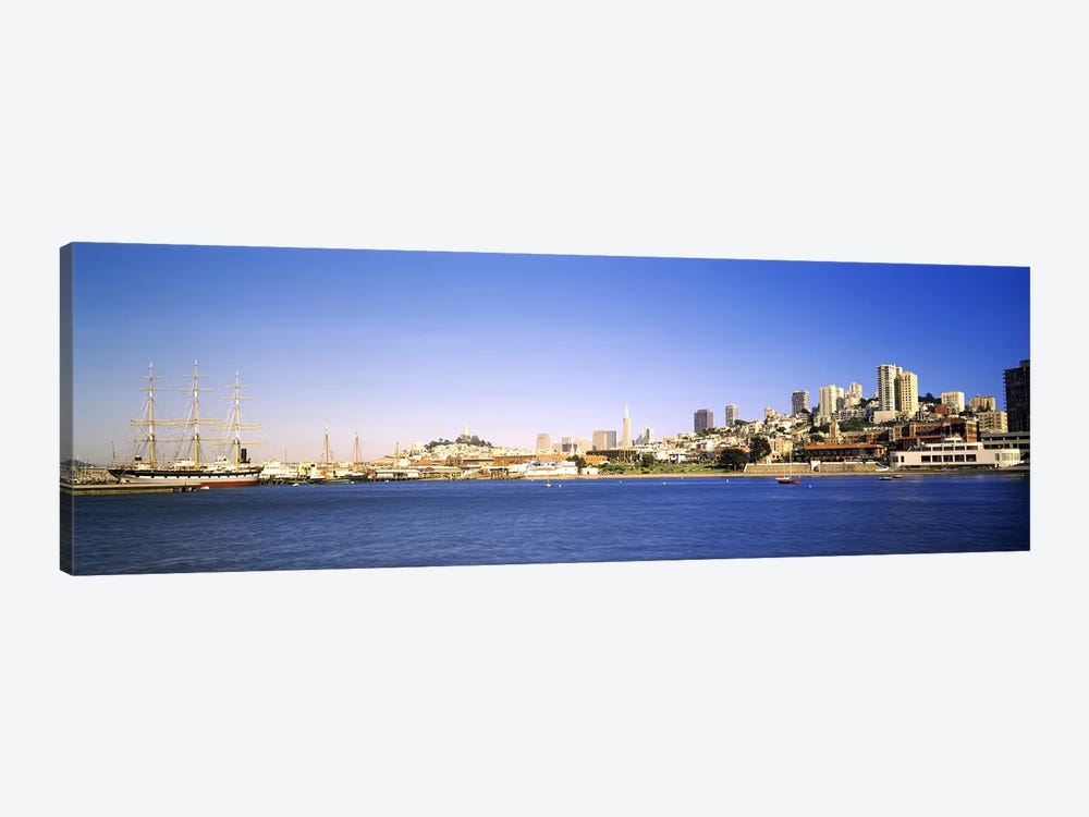 Sea with a city in the background, Coit Tower, Ghirardelli Square, San Francisco, California, USA by Panoramic Images 1-piece Canvas Artwork