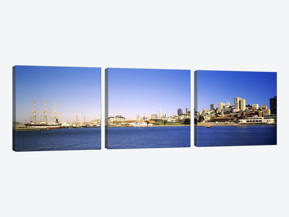 Sea with a city in the background, Coit Tower, Ghirardelli Square, San Francisco, California, USA by Panoramic Images 3-piece Canvas Art