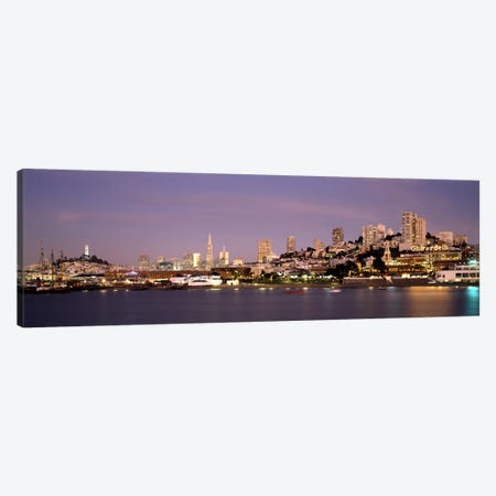 Sea with a city in the background, Coit Tower, Ghirardelli Square, San Francisco, California, USA #2 Canvas Print #PIM7719} by Panoramic Images Canvas Print