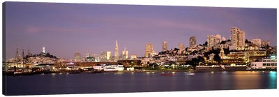 Sea with a city in the background, Coit Tower, Ghirardelli Square, San Francisco, California, USA #2 Canvas Art Print