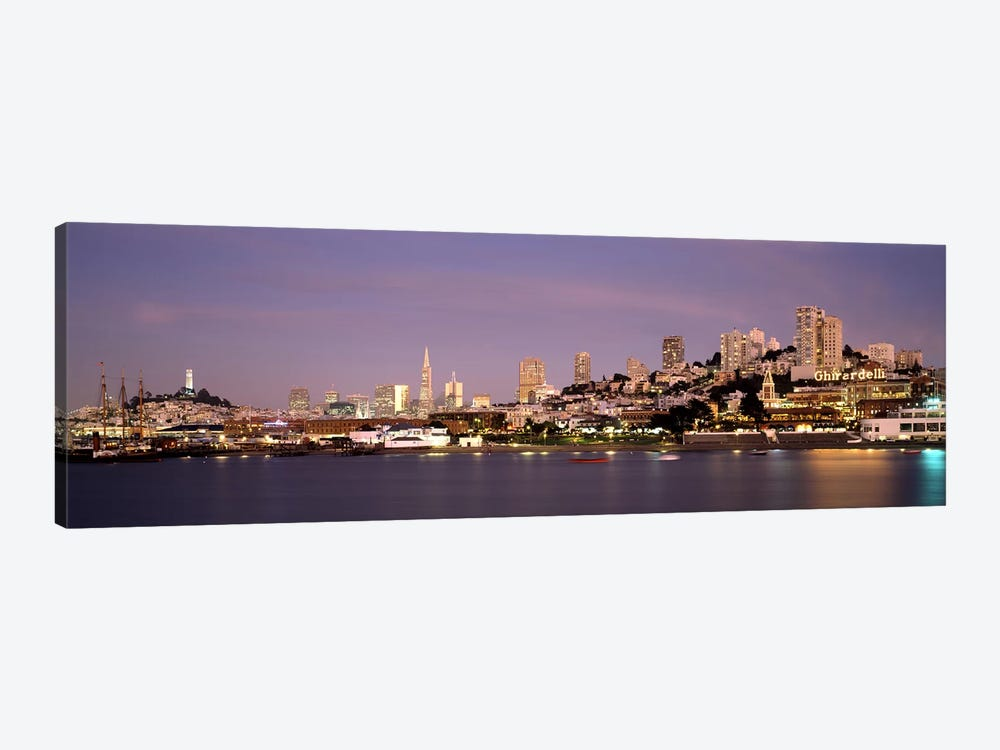 Sea with a city in the background, Coit Tower, Ghirardelli Square, San Francisco, California, USA #2 by Panoramic Images 1-piece Canvas Art Print