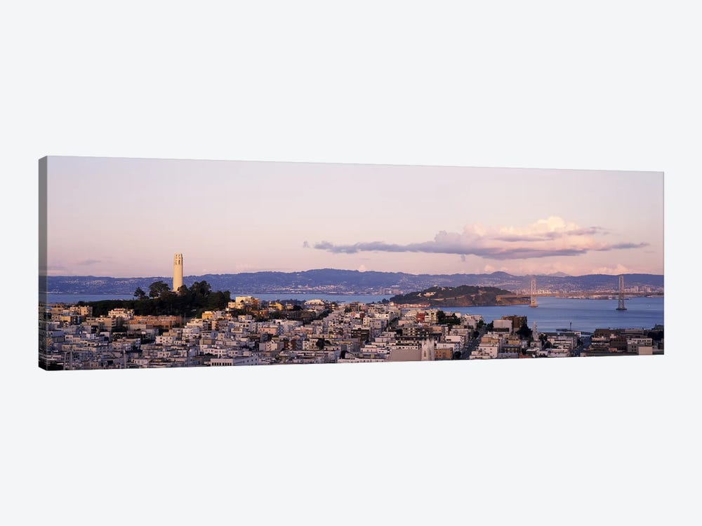High angle view of a city, Coit Tower, Telegraph Hill, San Francisco, California, USA by Panoramic Images 1-piece Canvas Art