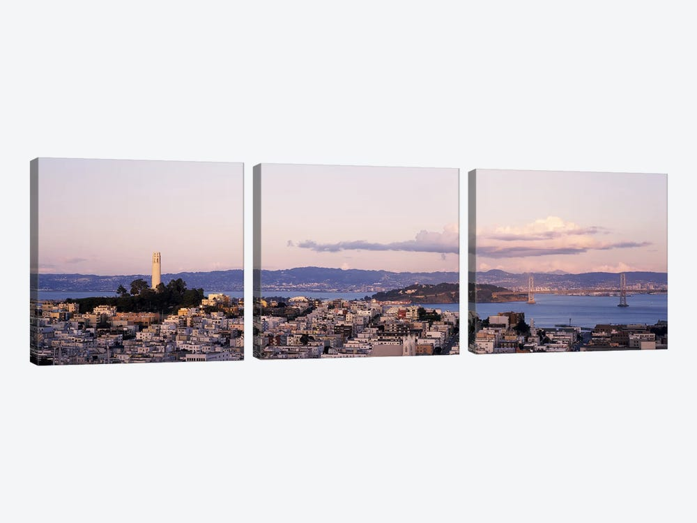 High angle view of a city, Coit Tower, Telegraph Hill, San Francisco, California, USA 3-piece Canvas Art