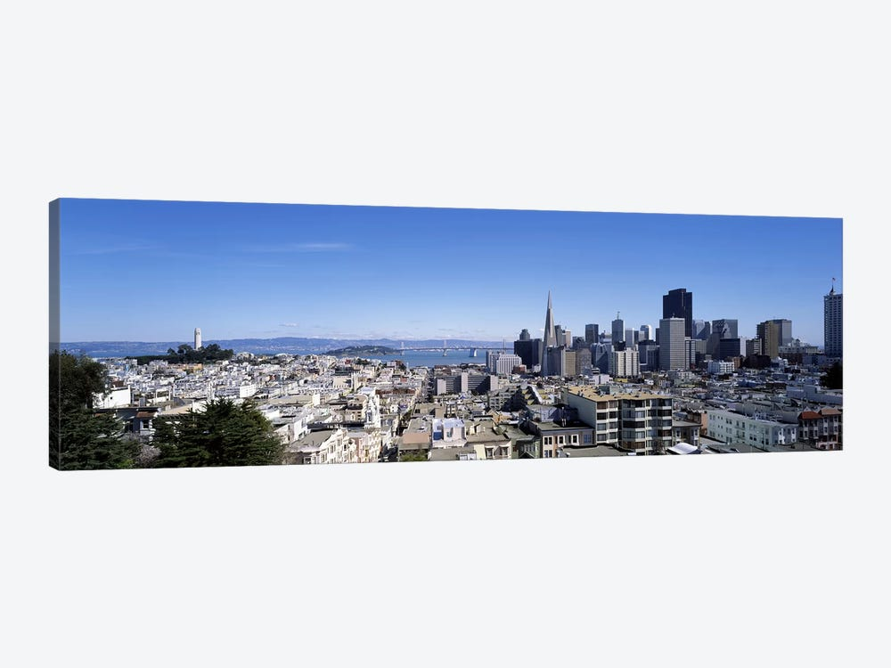 High angle view of a city, Coit Tower, Telegraph Hill, Bay Bridge, San Francisco, California, USA by Panoramic Images 1-piece Canvas Print