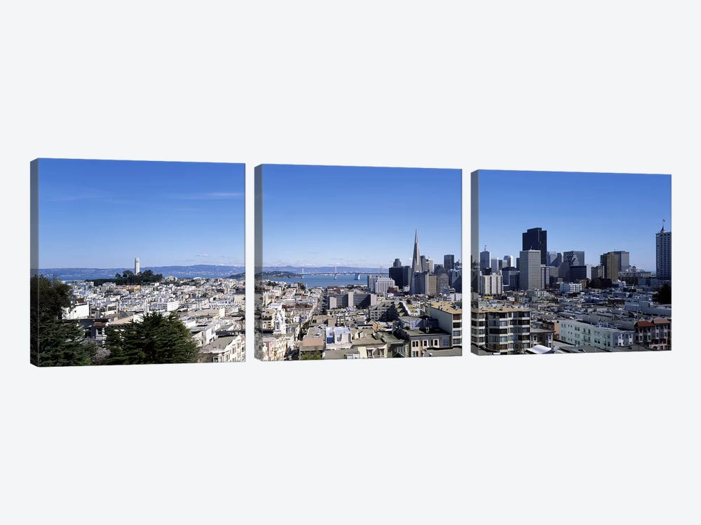 High angle view of a city, Coit Tower, Telegraph Hill, Bay Bridge, San Francisco, California, USA by Panoramic Images 3-piece Canvas Art Print