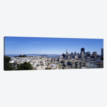 High angle view of a city, Coit Tower, Telegraph Hill, Bay Bridge, San Francisco, California, USA Canvas Print #PIM7722} by Panoramic Images Canvas Art