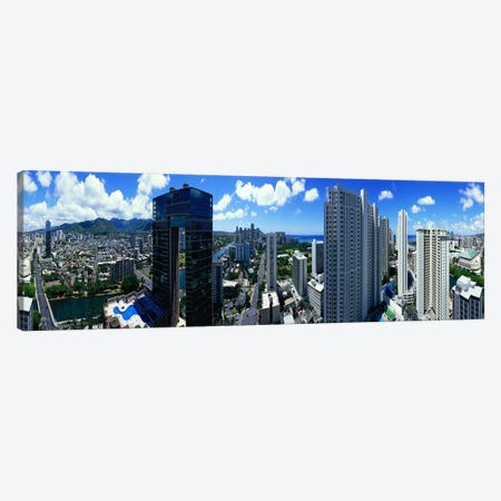 360 degree view of a city, Waikiki Beach, Oahu, Honolulu, Hawaii, USA Canvas Print #PIM7739} by Panoramic Images Art Print