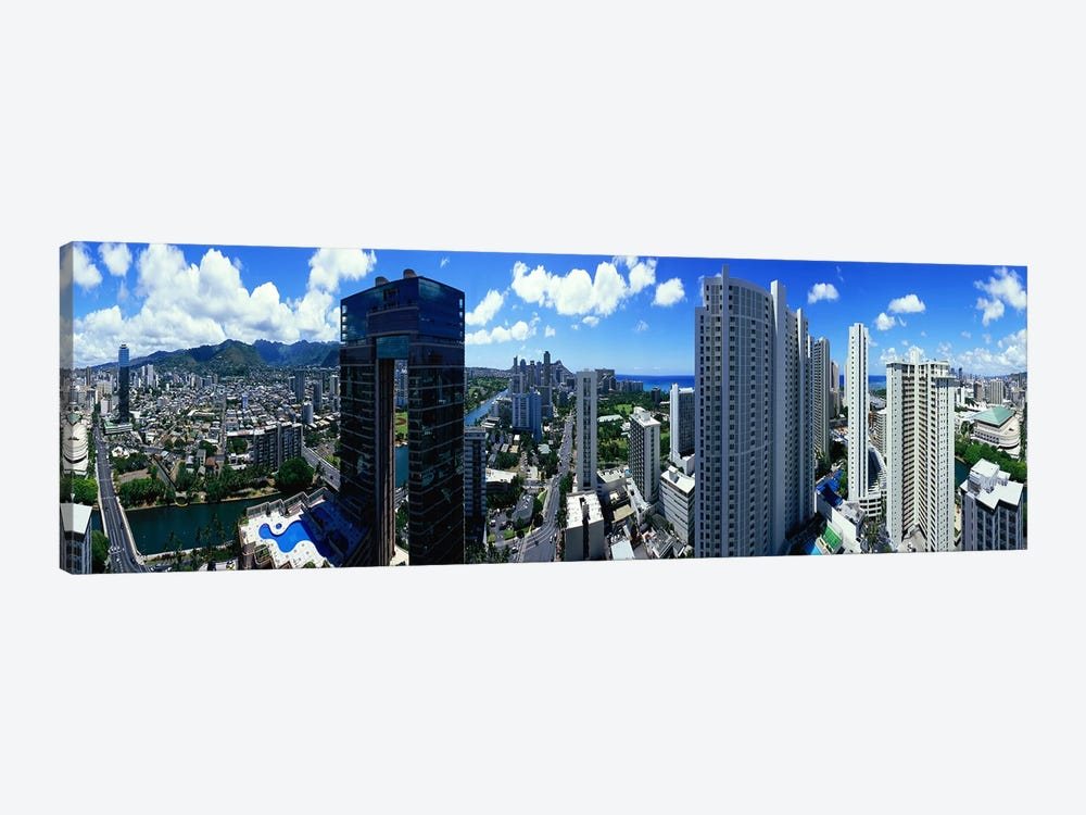 360 degree view of a city, Waikiki Beach, Oahu, Honolulu, Hawaii, USA by Panoramic Images 1-piece Art Print