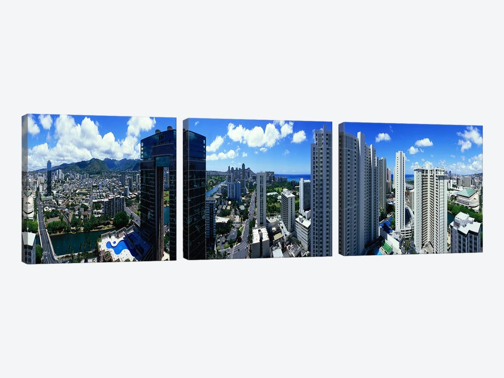 360 degree view of a city, Waikiki Beach, Oahu, Honolulu, Hawaii, USA by Panoramic Images 3-piece Art Print