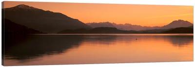 Lake Zug in the Evening Mt Rigi & Mt Pilatus Switzerland Canvas Print #PIM773
