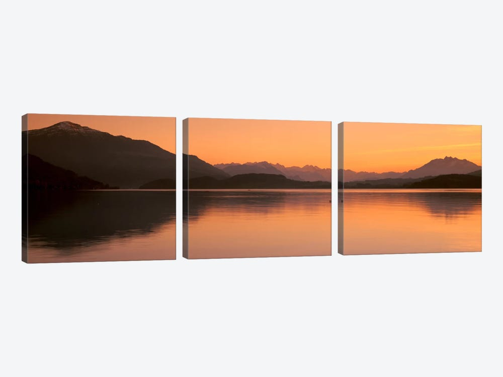 Lake Zug in the Evening Mt Rigi & Mt Pilatus Switzerland by Panoramic Images 3-piece Canvas Print