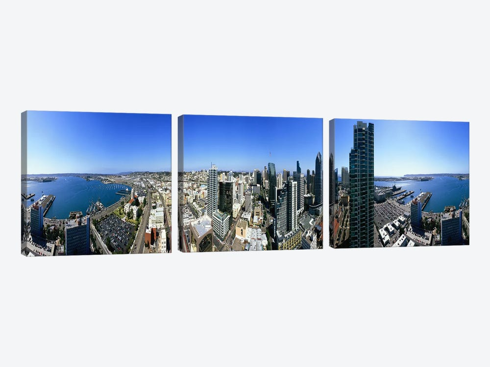 360 degree view of a city, San Diego, California, USA by Panoramic Images 3-piece Canvas Art Print