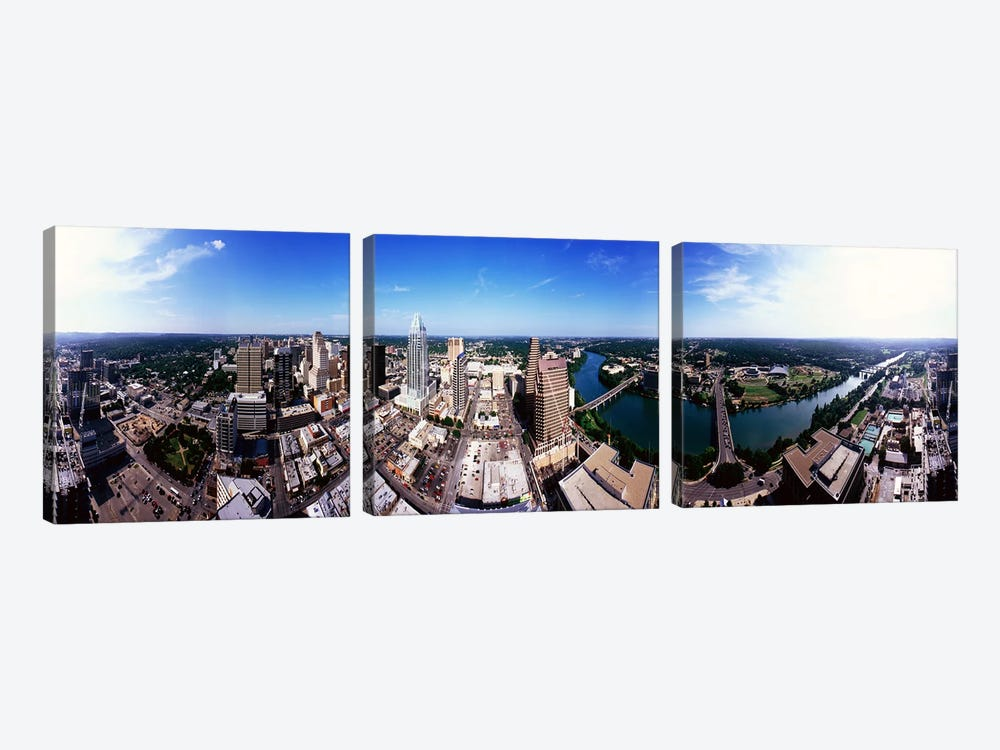 360 degree view of a city, Austin, Travis county, Texas, USA 3-piece Canvas Print