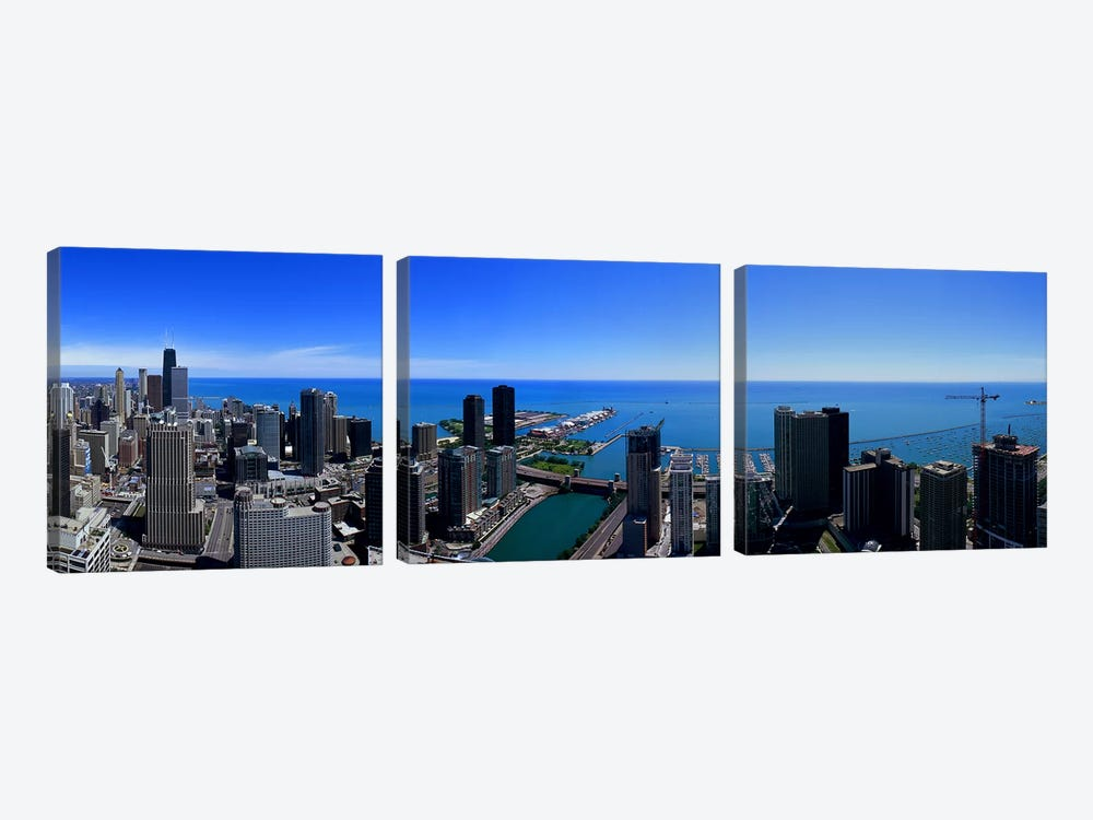 Buildings in a city, Chicago River, Chicago, Cook County, Illinois, USA by Panoramic Images 3-piece Canvas Wall Art