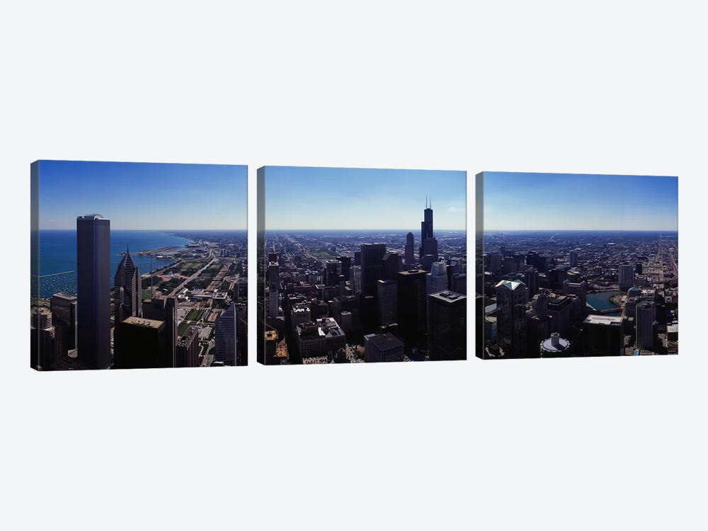 Aerial view of a city, Chicago River, Chicago, Cook County, Illinois, USA by Panoramic Images 3-piece Canvas Wall Art