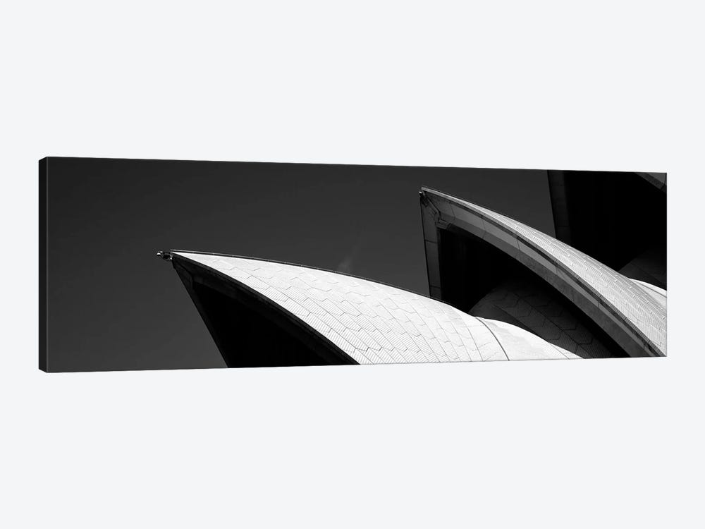 Low angle view of opera house sails, Sydney Opera House, Sydney Harbor, Sydney, New South Wales, Australia (black & white) 1-piece Canvas Wall Art