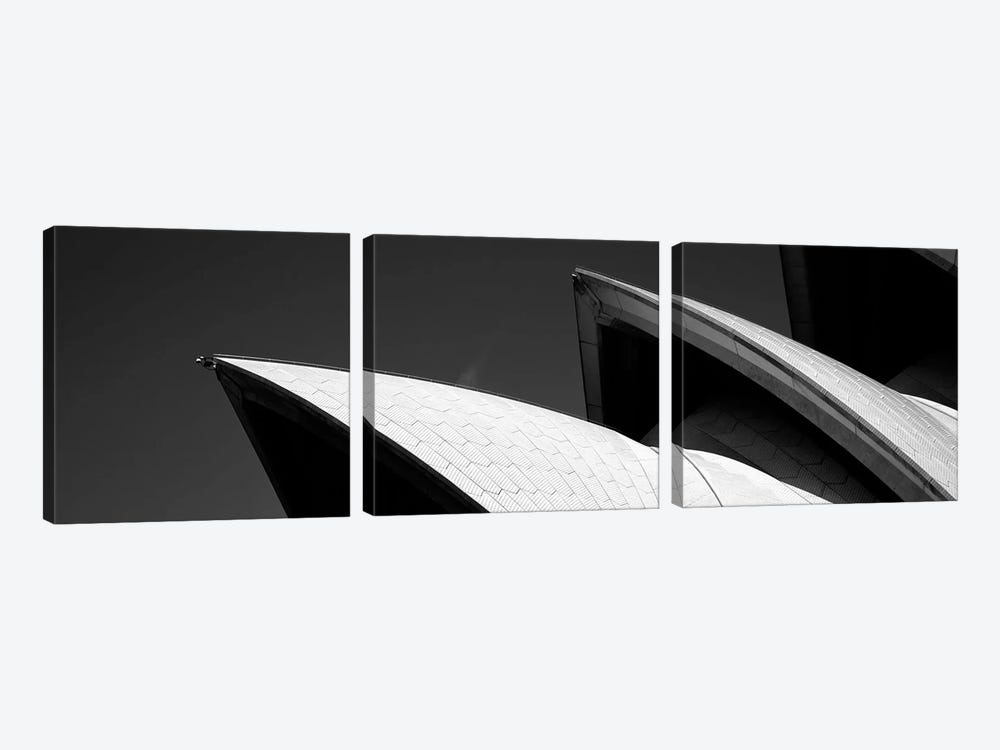 Low angle view of opera house sails, Sydney Opera House, Sydney Harbor, Sydney, New South Wales, Australia (black & white) by Panoramic Images 3-piece Canvas Artwork