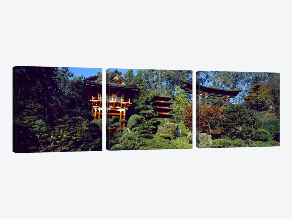 Pagodas in a park, Japanese Tea Garden, Golden Gate Park, Asian Art Museum, San Francisco, California, USA by Panoramic Images 3-piece Canvas Print