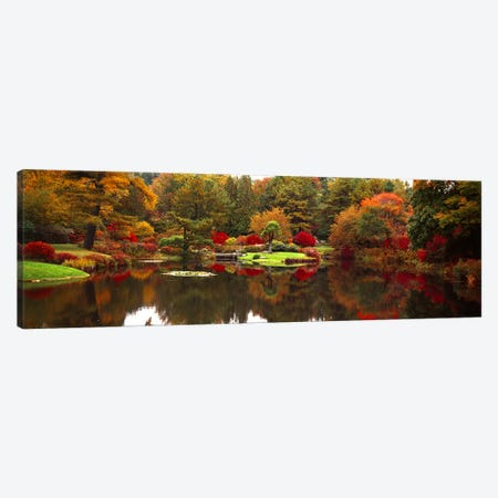 Reflection of trees in waterJapanese Tea Garden, Golden Gate Park, Asian Art Museum, San Francisco, California, USA Canvas Print #PIM7752} by Panoramic Images Canvas Print