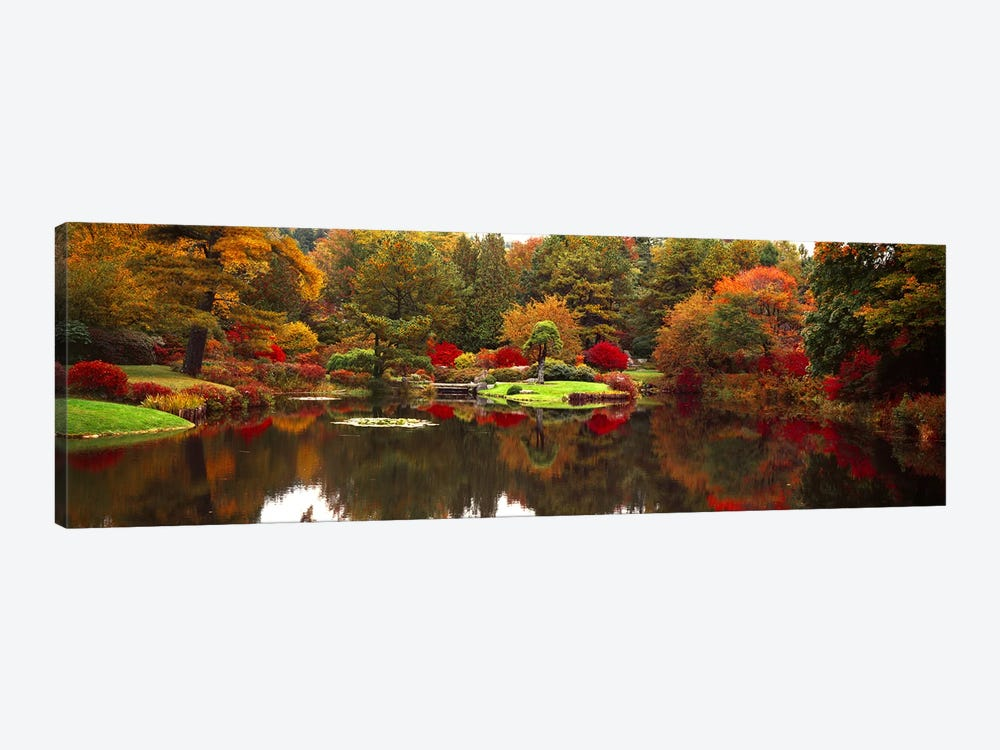 Reflection of trees in waterJapanese Tea Garden, Golden Gate Park, Asian Art Museum, San Francisco, California, USA by Panoramic Images 1-piece Canvas Artwork