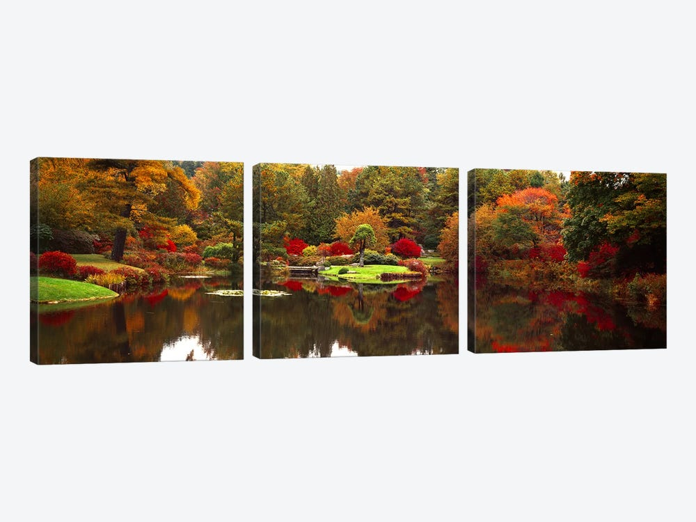 Reflection of trees in waterJapanese Tea Garden, Golden Gate Park, Asian Art Museum, San Francisco, California, USA by Panoramic Images 3-piece Canvas Wall Art