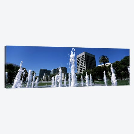 Fountain in a park, Plaza De Cesar Chavez, Downtown San Jose, San Jose, Santa Clara County, California, USA Canvas Print #PIM7763} by Panoramic Images Canvas Art