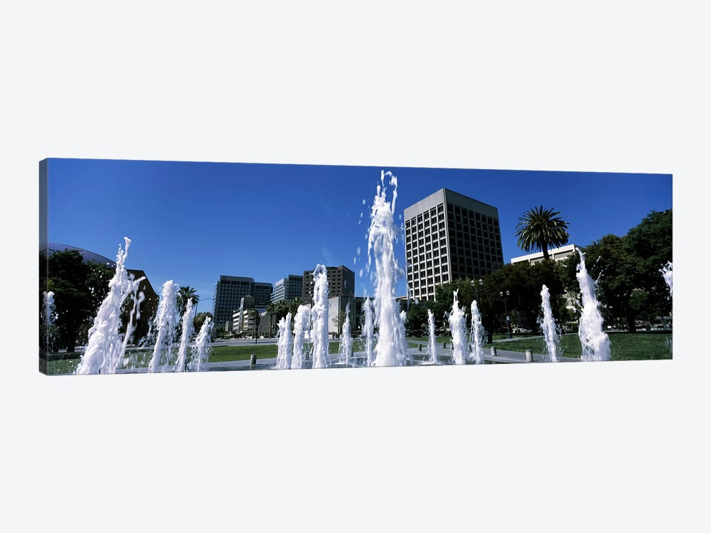 Fountain in a park, Plaza De Cesar Chavez, Downtown San Jose, San Jose, Santa Clara County, California, USA by Panoramic Images 1-piece Canvas Wall Art