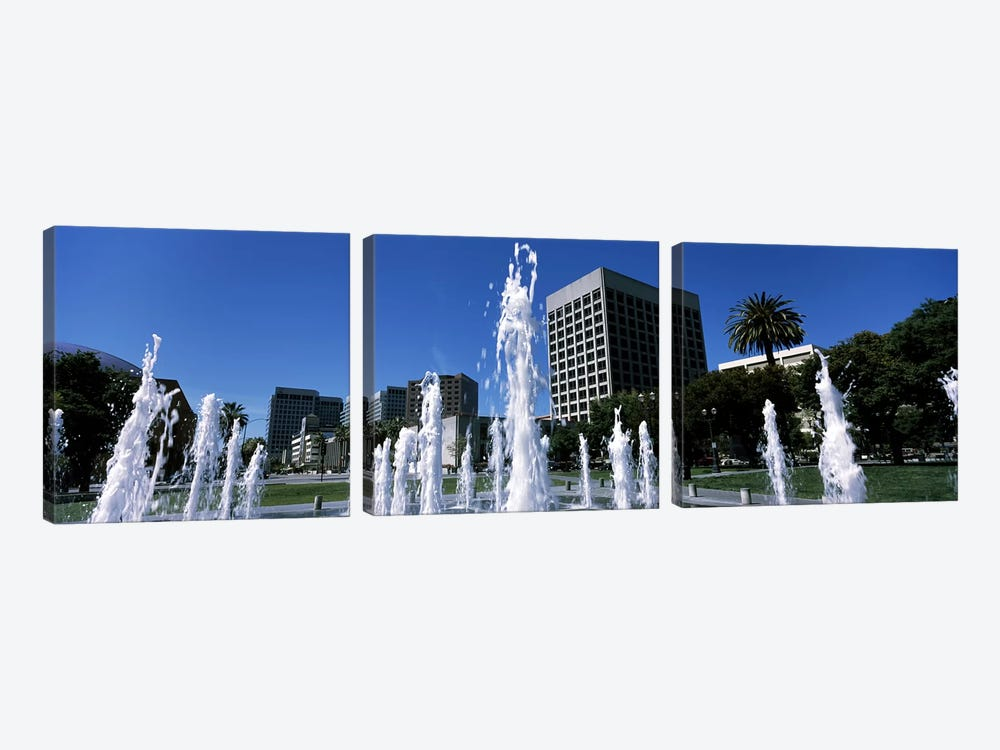 Fountain in a park, Plaza De Cesar Chavez, Downtown San Jose, San Jose, Santa Clara County, California, USA by Panoramic Images 3-piece Canvas Artwork
