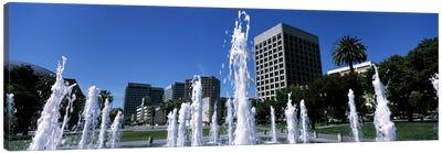 Fountain in a park, Plaza De Cesar Chavez, Downtown San Jose, San Jose, Santa Clara County, California, USA Canvas Art Print